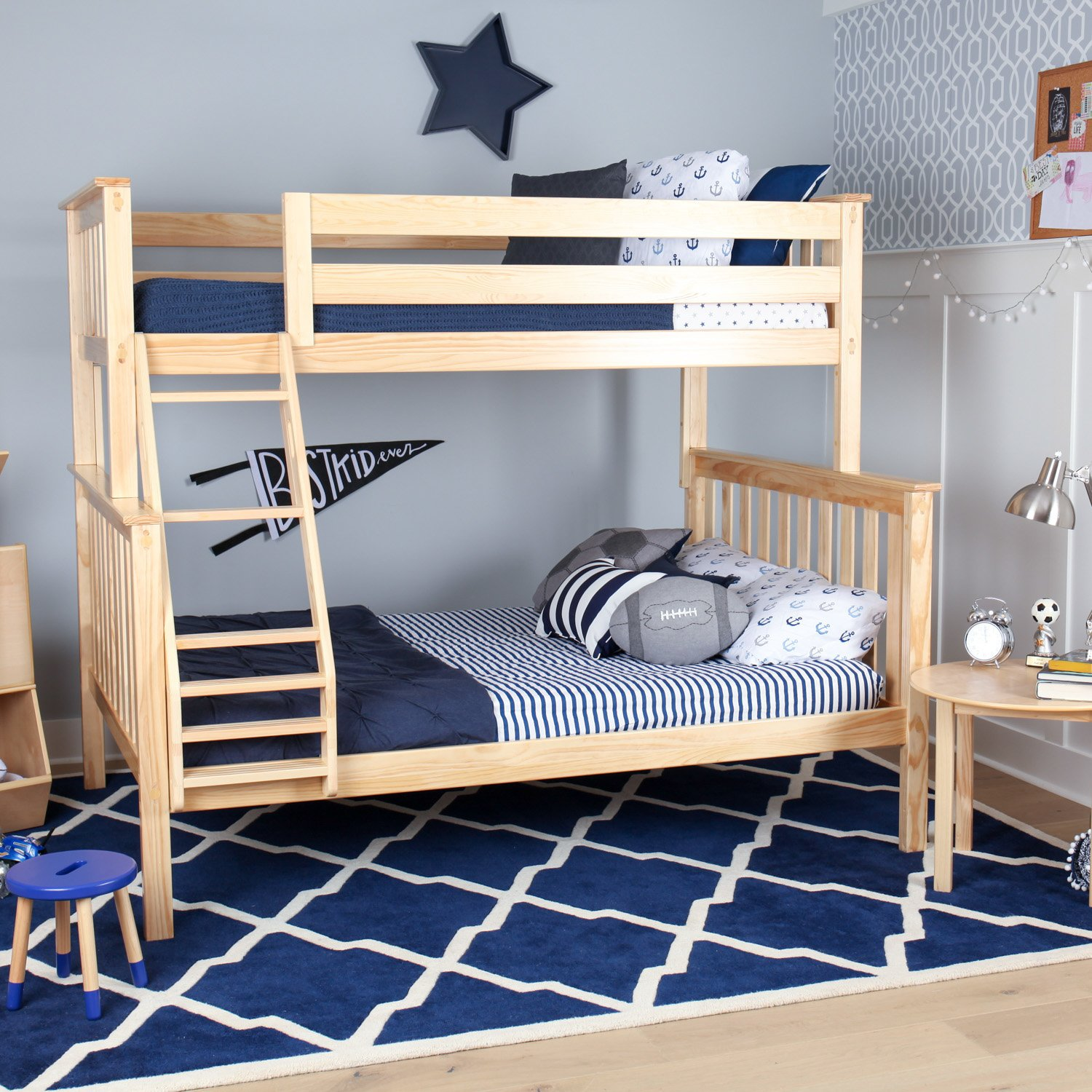 Picture of: Max And Lily Solid Wood Twin Over Full Bunk Bed Natural Maxwood Furniture Inc