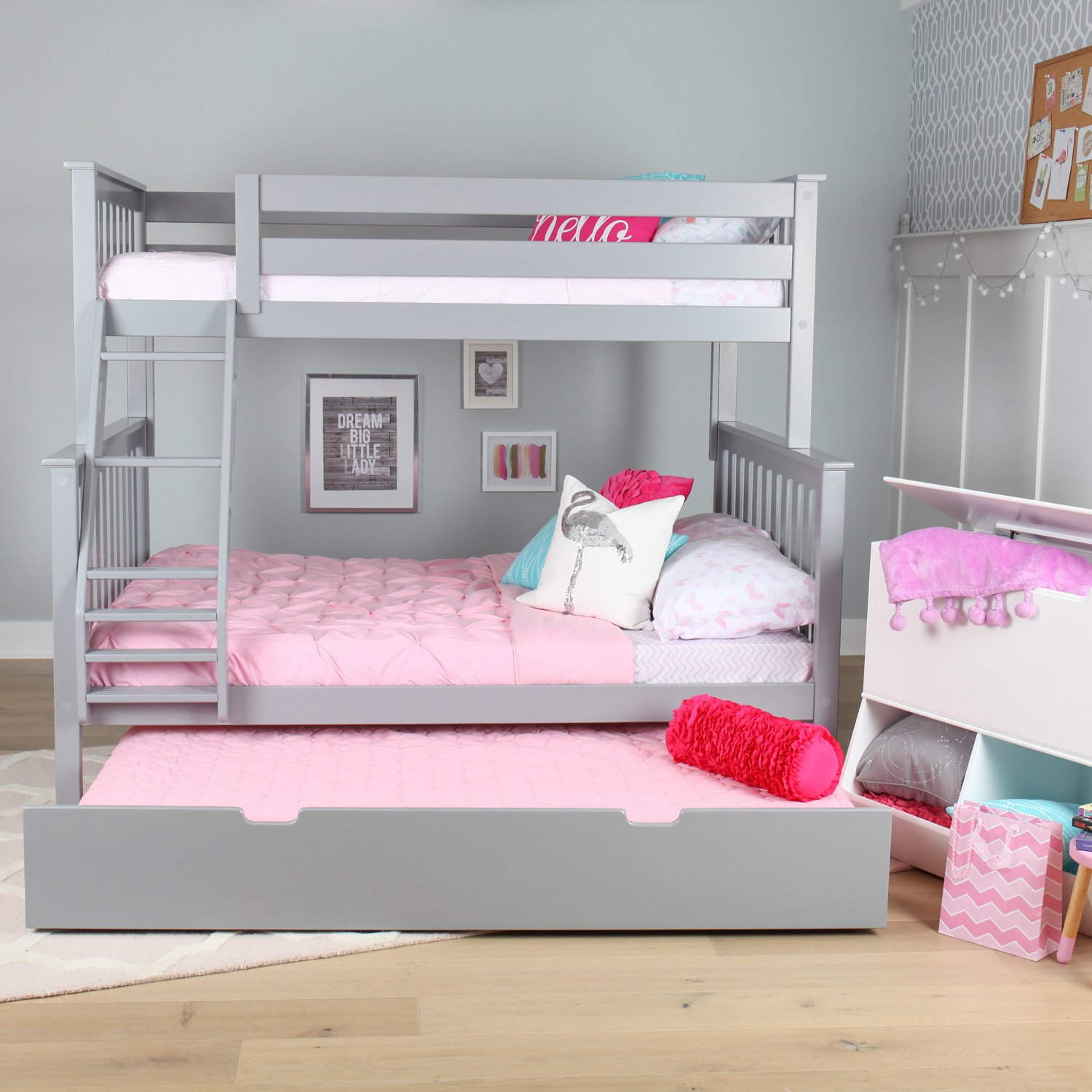 Max And Lily Solid Wood Twin Over Full Bunk Bed With Trundle Bed Grey Maxwood Furniture Inc